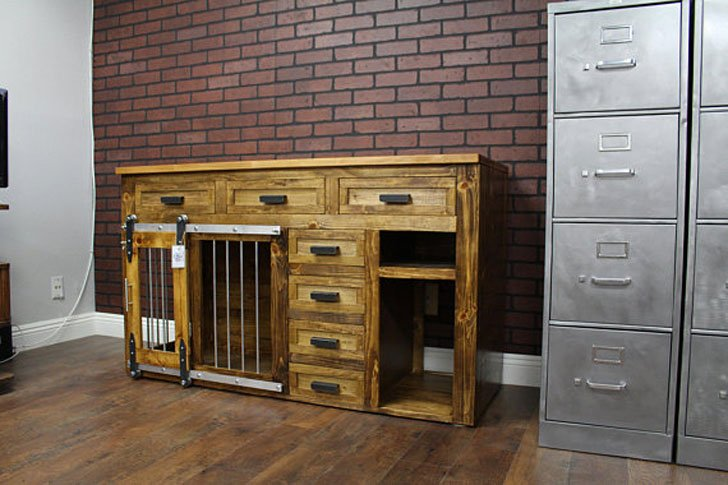 Rustic Dog Crate Furniture Credenza Media Center