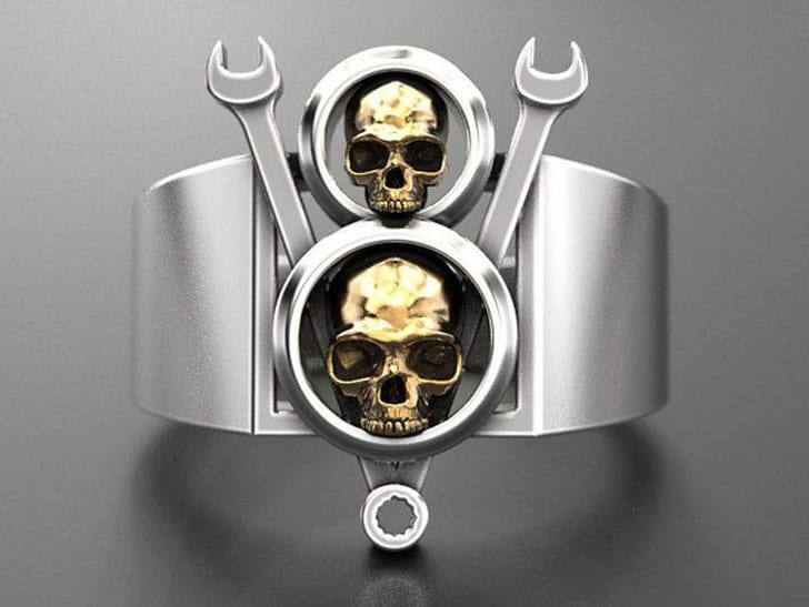 Skull and Wrench Ring - Gifts For Mechanics