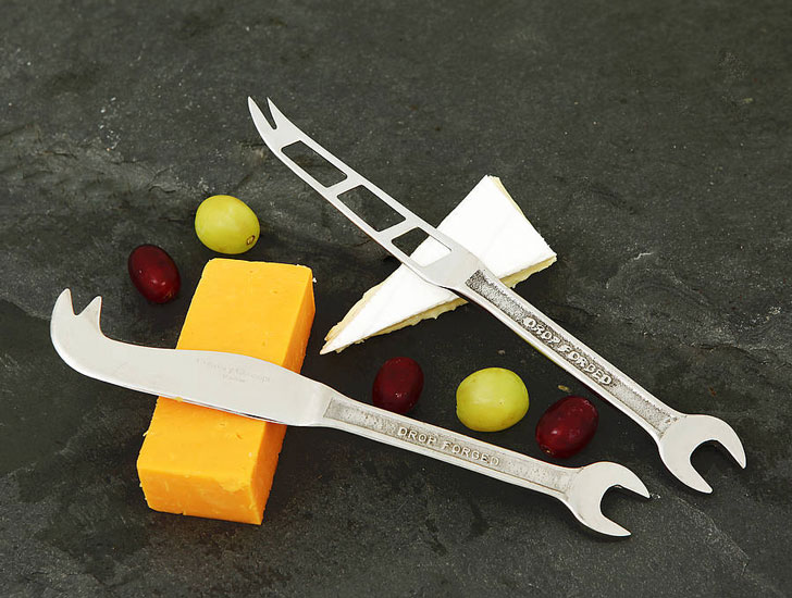 Spanner Hard and Soft Cheese Knives - Gifts For Mechanics