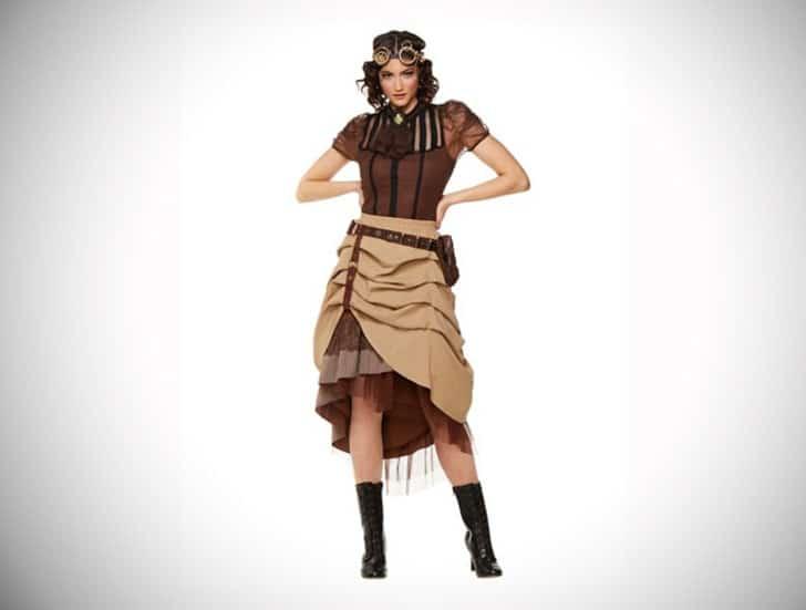 Steampunk Long Ruffle Skirt