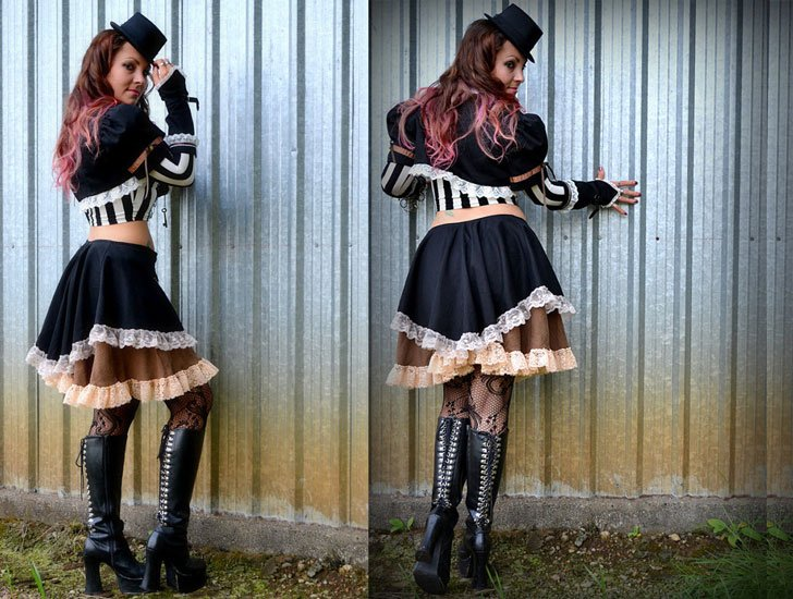 Steampunk Outfit, 3 piece, Skirt, Shrug and Sleeves