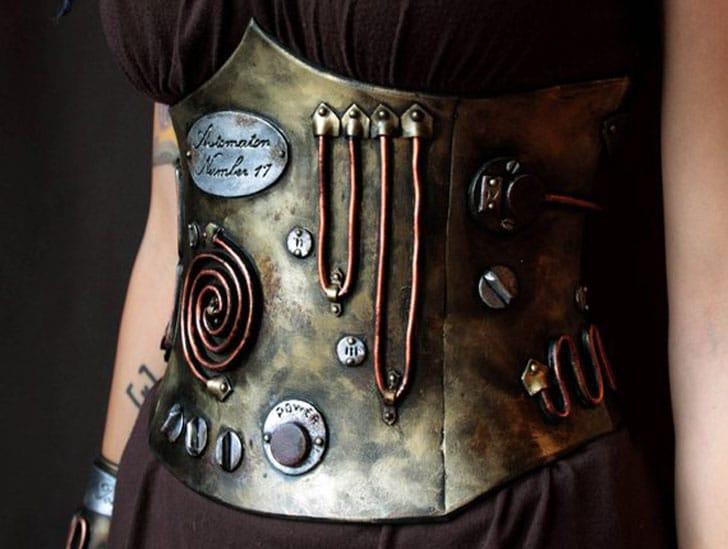 Steampunk set : Underbust Corset + Choker + Bracer. Post Apocalyptic Style