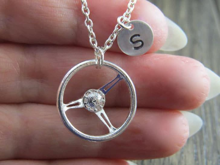 Sterling Silver Car Steering Wheel Necklace