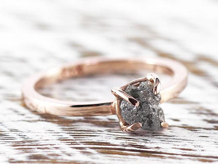 Uncut Grey Diamond 14k Rose Gold Engagement Ring