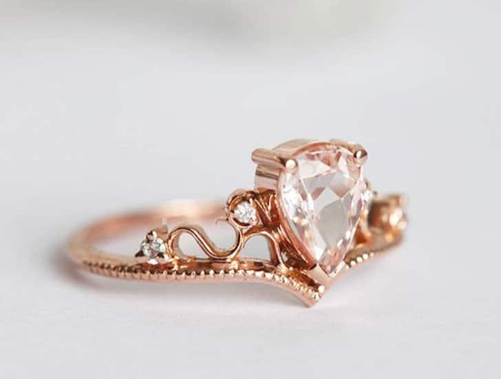 Vintage Tiara Pear Rose Gold Engagement Ring Set