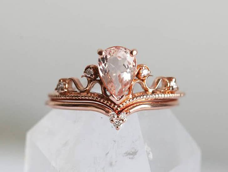 Vintage Tiara Pear Rose Gold Engagement Ring Set