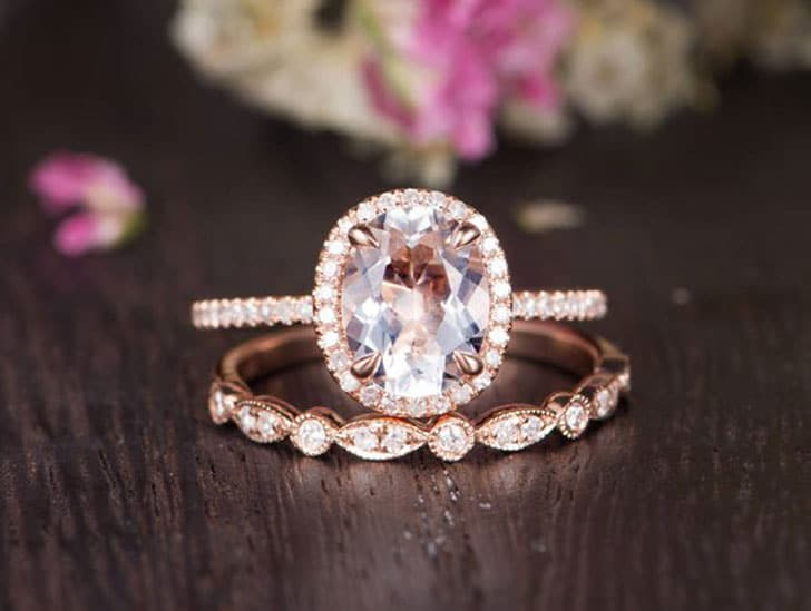 White Topaz Half Eternity Rose Gold Diamond Ring