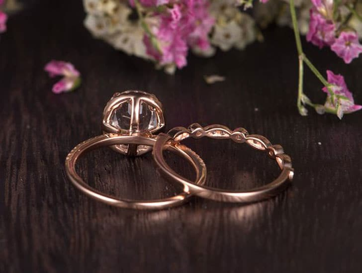 White Topaz Half Eternity Rose Gold Diamond Ring