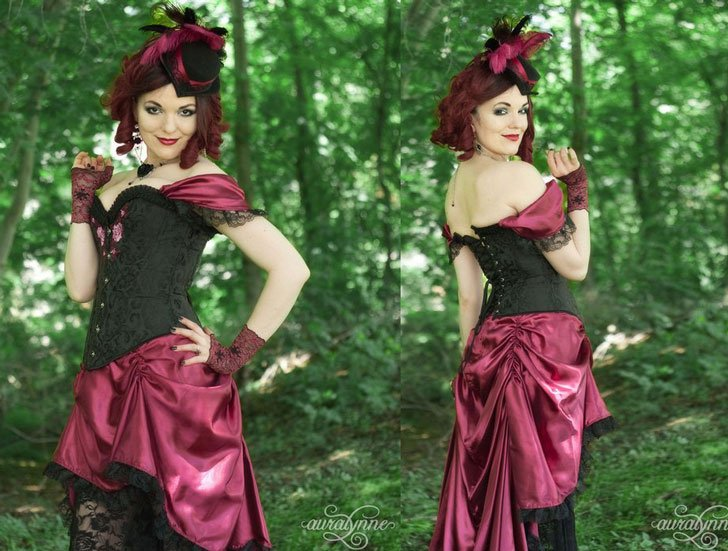 Wine & Roses Saloon Girl Victorian Dress