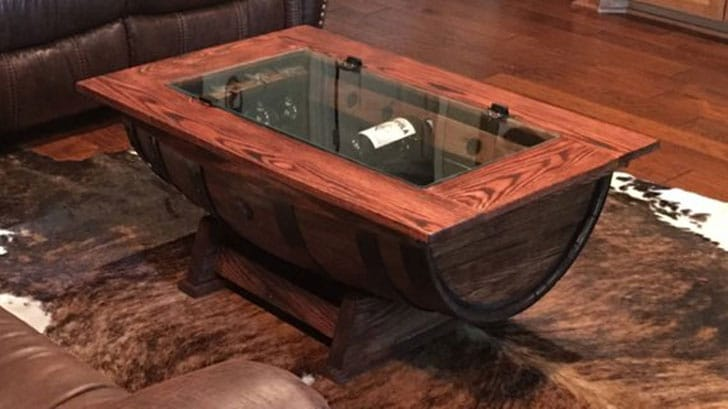 Barrel Coffee Table with Bottle Storage