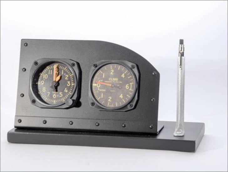 Cockpit Style Alarm Clock Desk Display with Pen/Pencil Holder