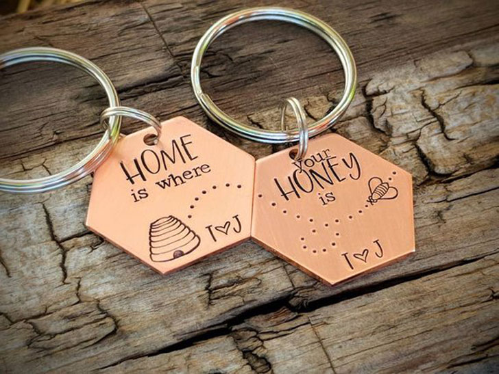 Custom Hand Stamped Honey Beehive Keychains