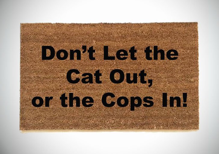 Don't Let the Cat Out Or the Cops in Doormat