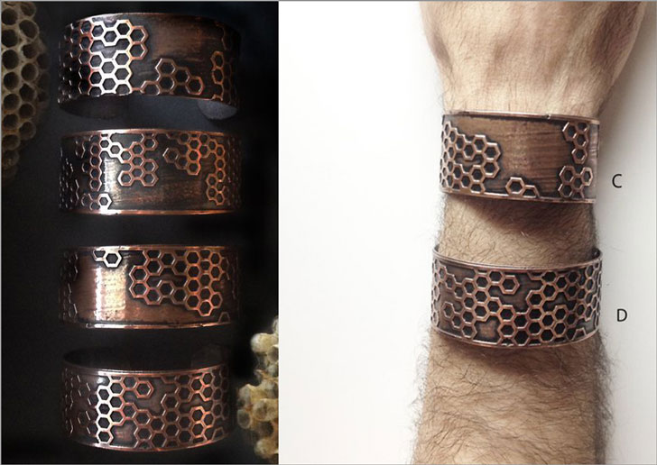 HoneyComb Copper Etched Cuffs