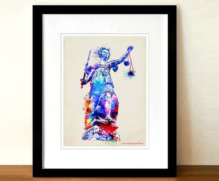 Lawyer Print-Watercolor Lady Justice