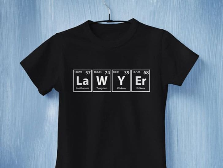 Lawyer / Attorney Periodic Table of Elements Tee