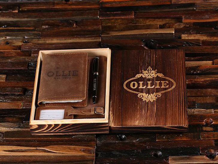 Personalized Engraved Leather Journal Gift Pack