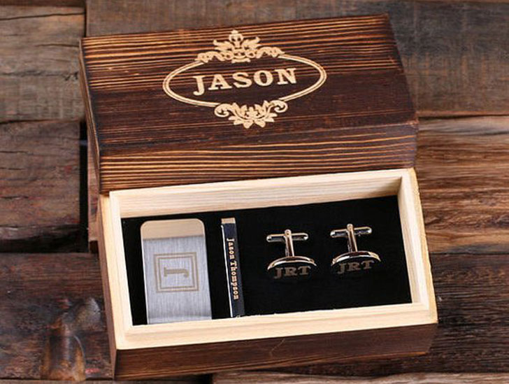 Personalized Gentleman's Gift Set Cuff Links, Money Clip, Tie Clip