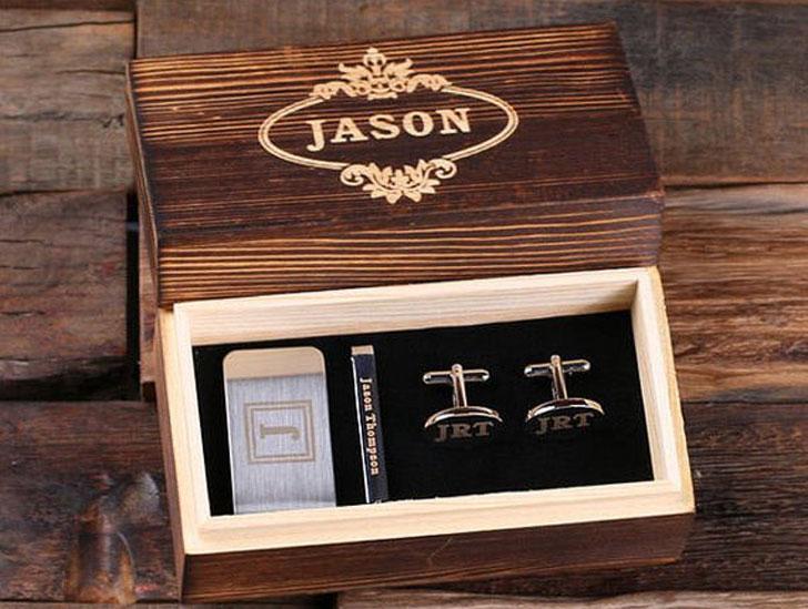 Personalized Gentleman's Gift Set Cuff Links, Money Clip, Tie Clip
