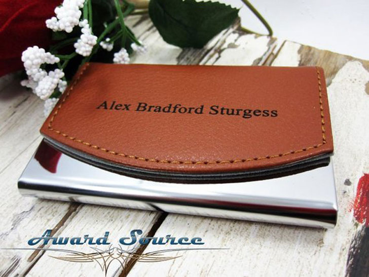 Personalized Genuine Leather Business Card Holder