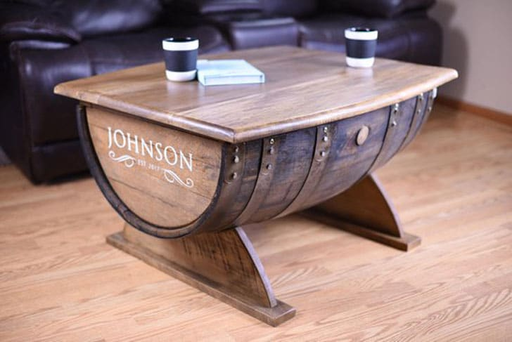 Personalized Reclaimed Wood Rustic Barrel Coffee Table
