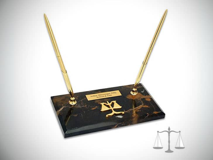 Personalized Scales of Justice Double Pen Stand