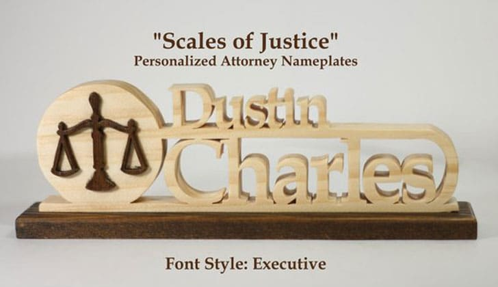 Scales of Justice Personalized Lawyer/Attorney Nameplates