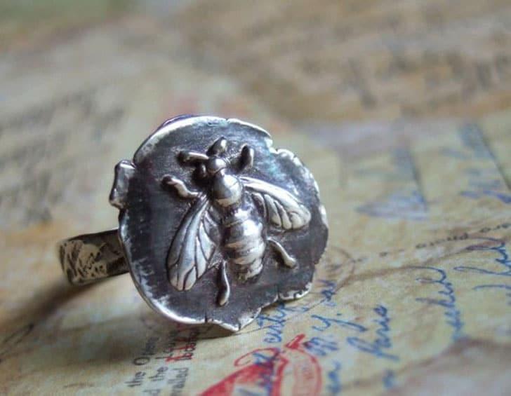 Silver Beekeeper Honey Bee Ring