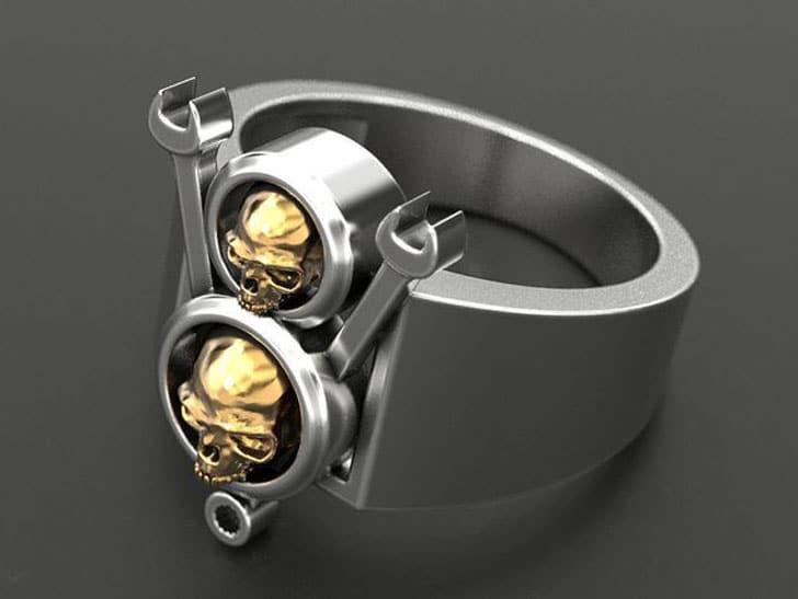 Skull And Wrench Ring