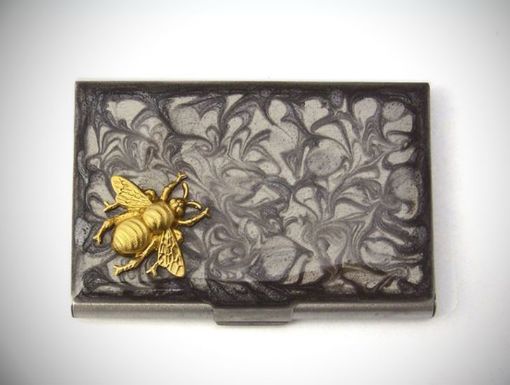 Steampunk Bee Business Card Holder