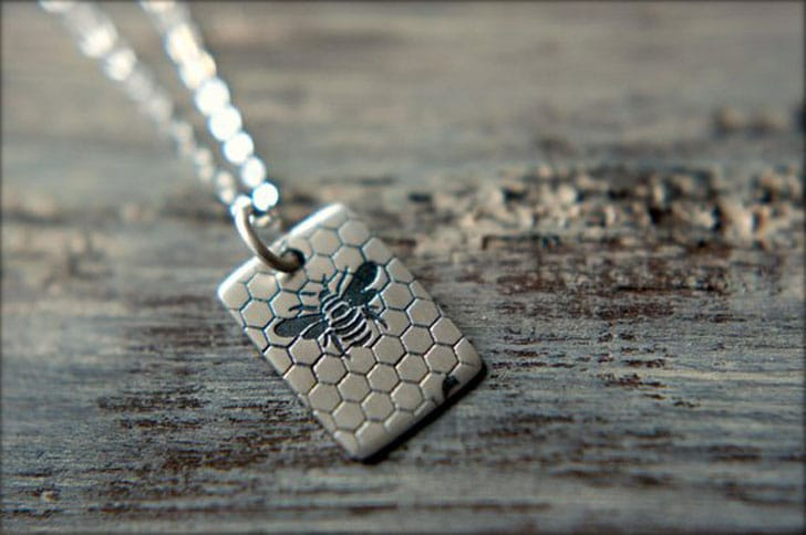 Sterling Silver Bee & Honeycomb Tag Necklace