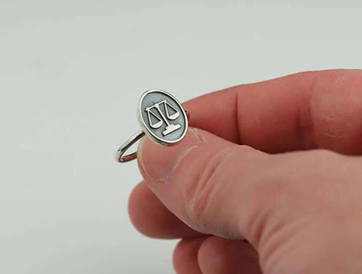 Sterling Silver Scales of Justice Ring - Gifts for Lawyers