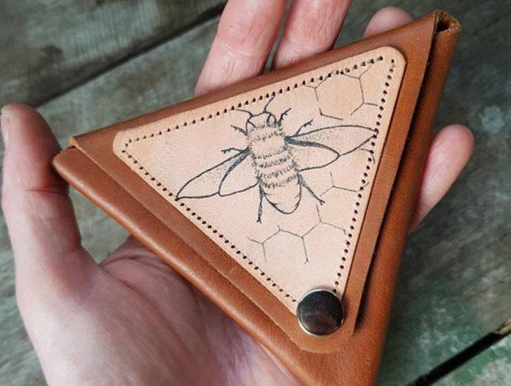 Triangle Minimal Slim Honey Bee Bespoke Coin Purse / Wallet