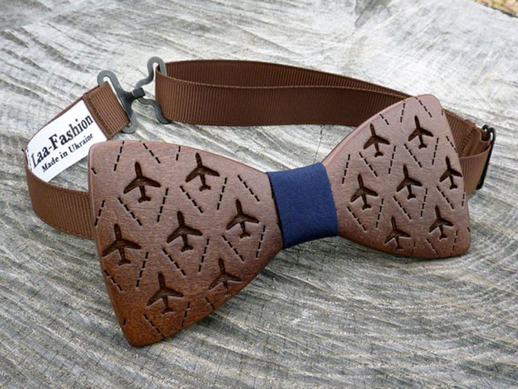 Wooden Airplanes Bow Tie