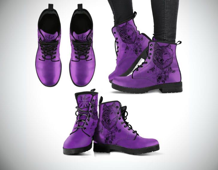 Bohemian Wolf Boots - Purple