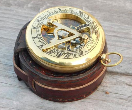 Custom Engraved Sundial Compass