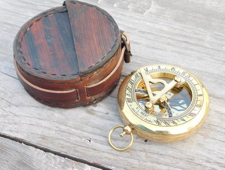 Custom Engraved Sundial Compass