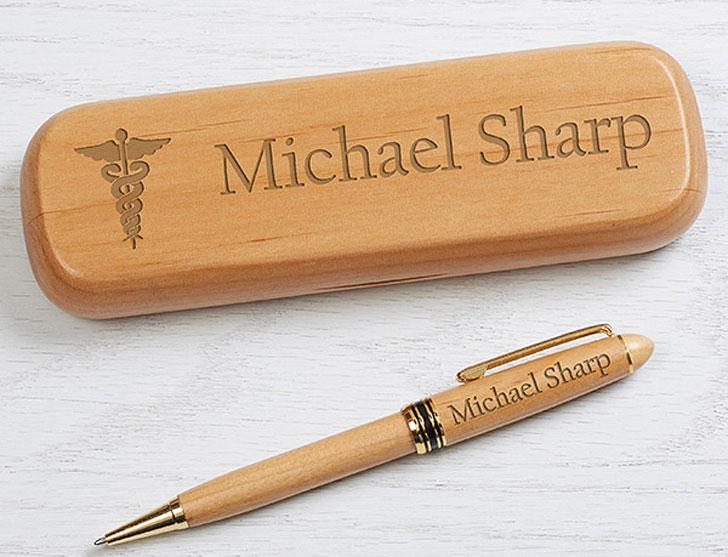 Engraved Alderwood Pen Set