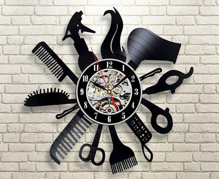 Hairdresser Wall Clock Made of Vinyl Record
