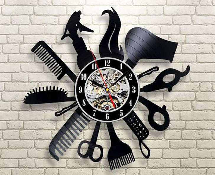 Hairdresser Wall Clock Made of Vinyl Record