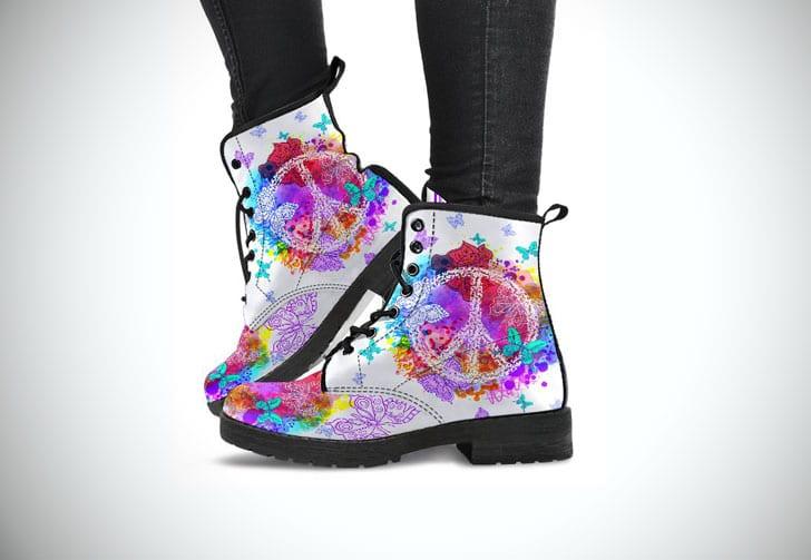 Peace & Butterflies Bohemian Hippie Style Boots