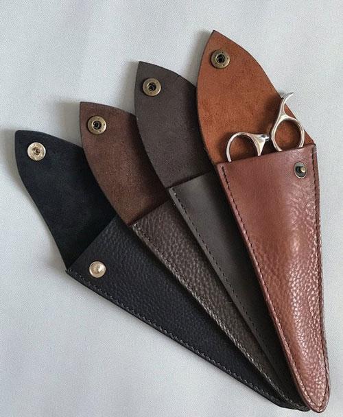 Personalised Black Leather Scissor Case