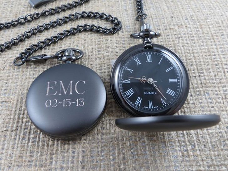 Personalized Gunmetal Pocket Watch Custom with Monogram
