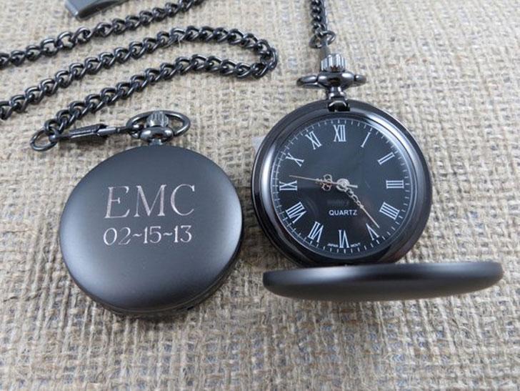 Personalized Gunmetal Pocket Watch Custom with Monogram