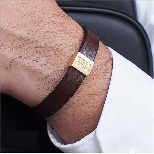 Personalized Leather Coordinates Bracelet