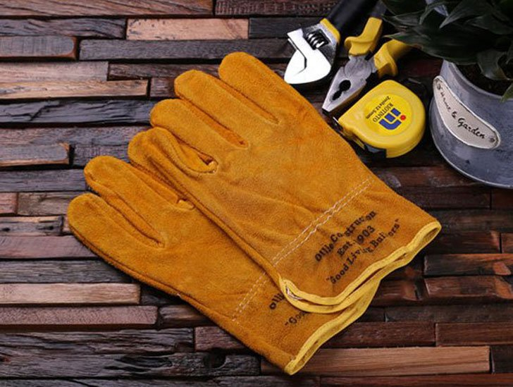 Personalized Leather Suede Construction Worker Gloves