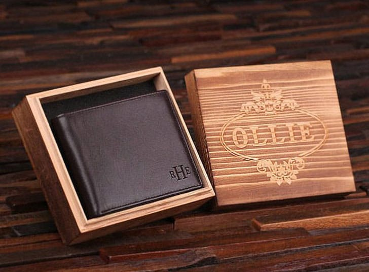 Personalized Monogrammed Engraved Genuine Leather Bifold Wallet