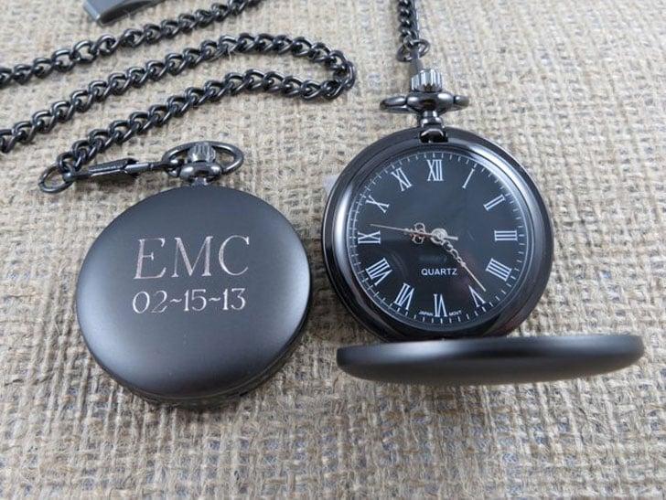 Personalized Monogrammed Gunmetal Pocket Watch