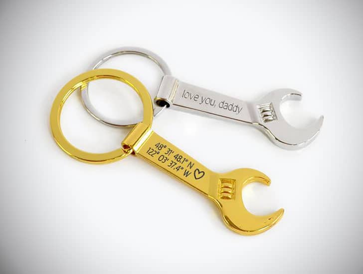 Personalized Wrench Bottle Opener Keychain