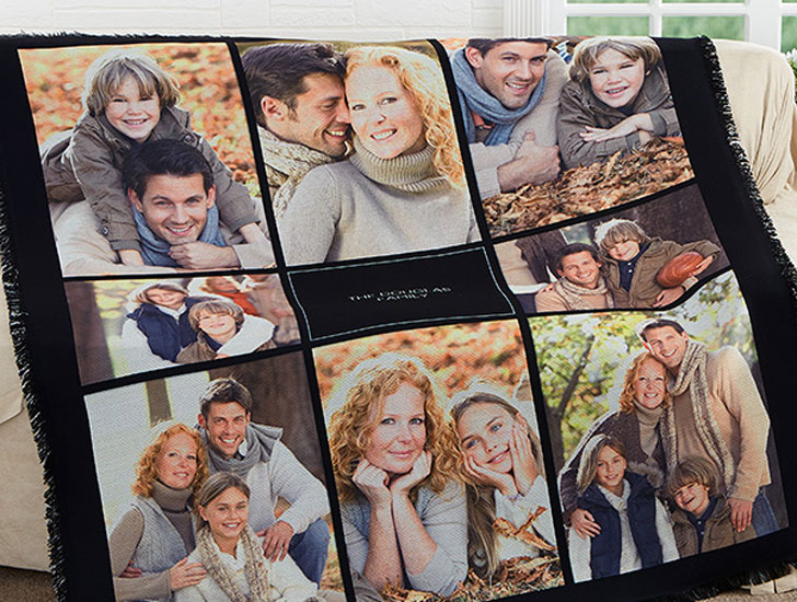 Photomontage Personalized Woven Throw